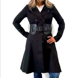 Mackage Black Fit Flare Leather Belted Trench Coat